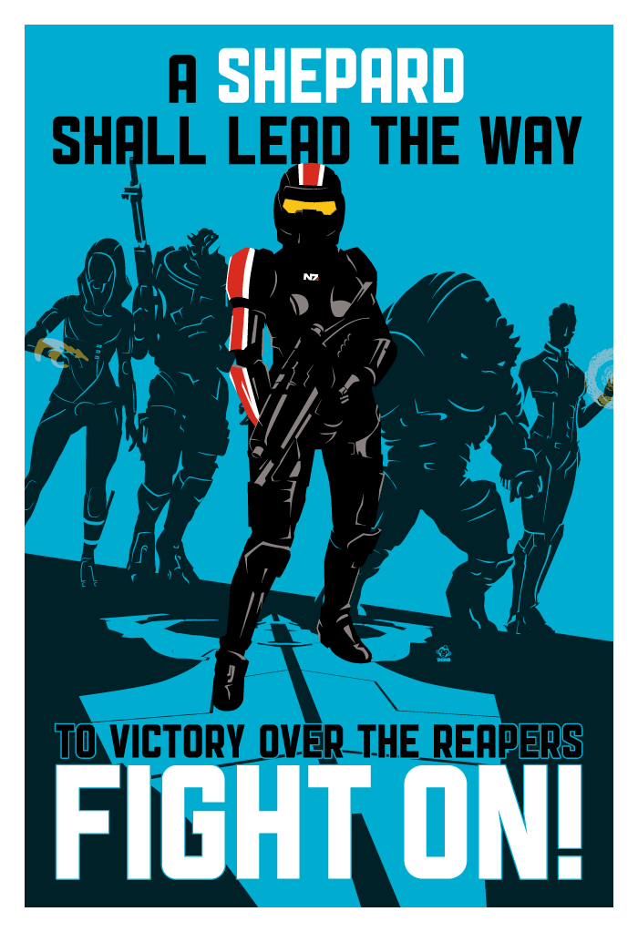 FIGHT ON (Paragon) - Commander Shepard 13x19 Limited Edition Giclee Print