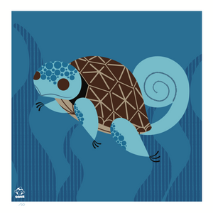 Squirtle 8x8 Mid-Century Modern Giclee Print