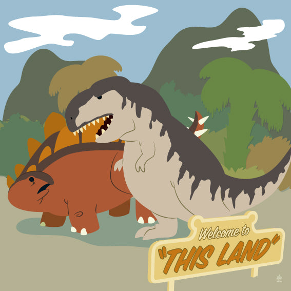 This Land Dinosaurs - 8x8 Art Print