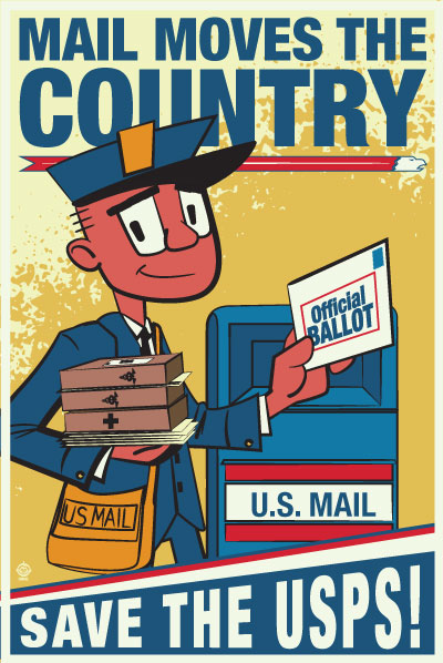 USPS Mail Moves The Country - 12x18 POPaganada Print