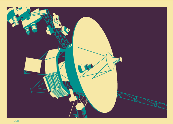 Voyager Space Probe Retro 5x7 Giclee Print