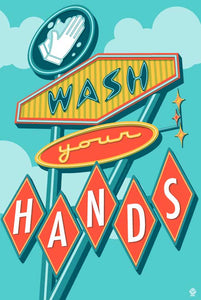 Wash Your Hands - 12x18 Retro Neon Sign Print