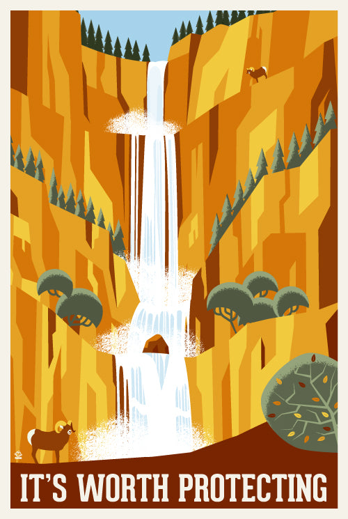 It's Worth Protecting Waterfalls - 12x18 EPA/NPS POPaganada Print
