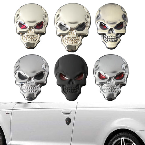 Metal Skull Car Sticker