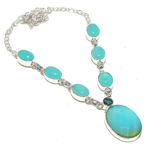 Aqua Chalcedony, Apatite Gemstone Jewelry Necklace