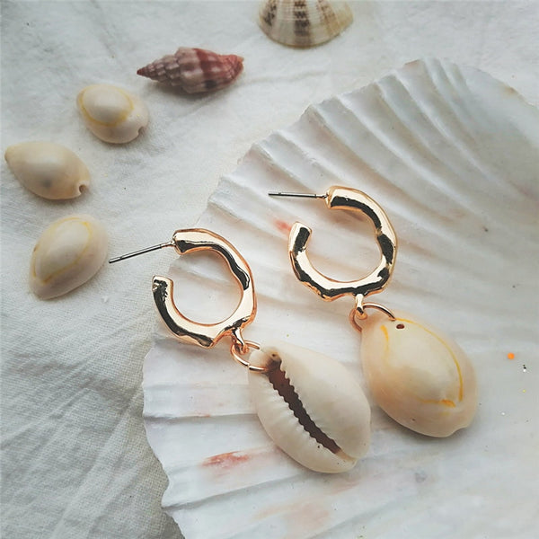 Gold Semi Hoop Cowrie Natural Sea Shell Earrings