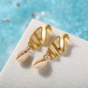 Geometric Cowrie Natural Sea Shell Earrings For Women