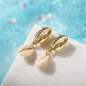 Gold Cowrie Natural Sea Shell Earrings For Women