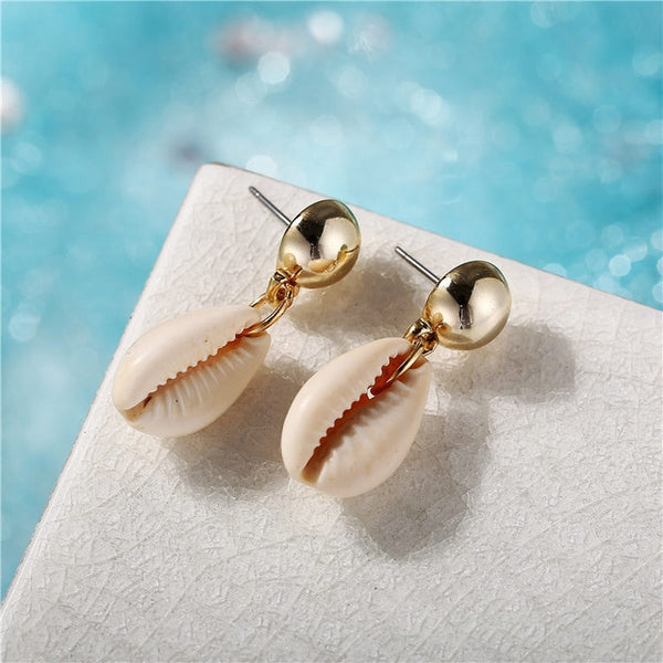 Cowrie Natural Sea Shell Earrings For Women