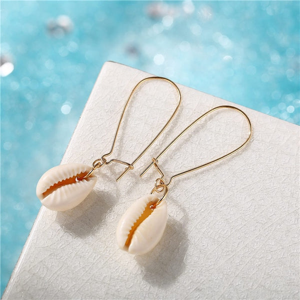 Gold French Wire Cowrie Natural Sea Shell Earrings