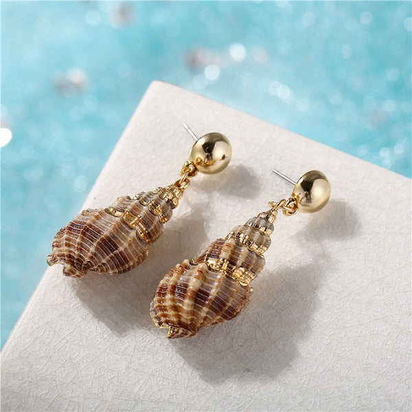 Gold Spiral Sea Shell Earrings