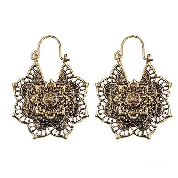Gypsy Indian Tribal Ethnic Hoop Dangle Mandala Earrings in Gold