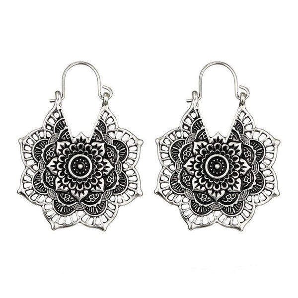 Gypsy Indian Tribal Ethnic Hoop Dangle Mandala Earrings in Silver