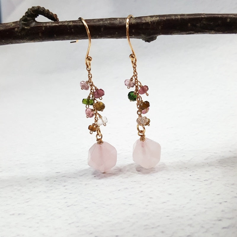 Natural Rose Quartz and Tourmaline Dangle Earrings in Sterling Silver