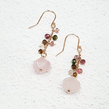 Load image into Gallery viewer, Natural Rose Quartz and Tourmaline Dangle Earrings in Sterling Silver