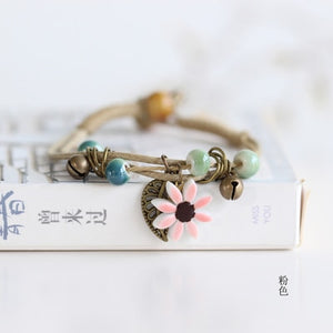 Flower and Leaf Ceramic Handmade Bracelet