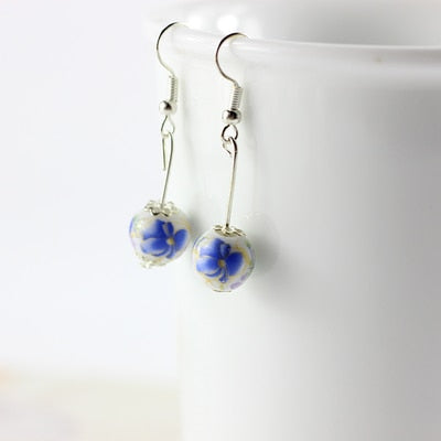 Miredo Ceramic Bead Drop Earrings in Silver