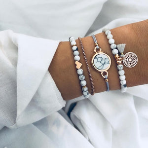 Layering Set of Crystal Marble Charm Bracelets
