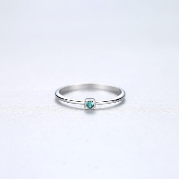 Sterling Silver Green Topaz Thin Ring