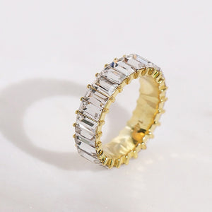 Sterling Silver and CZ Baguette Eternity Ring
