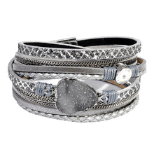 Load image into Gallery viewer, Leather Wrap Bracelet with Druzy
