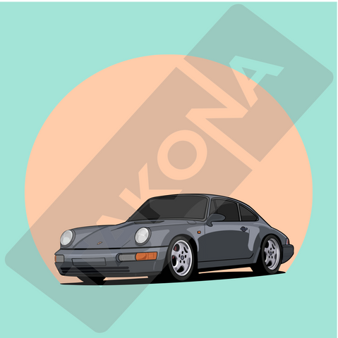 Porsche 964 - Chris Wong Drawing Design - Green Background - Takona Watermark