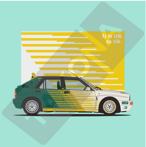 Lancia Delta Integrale - Petrol Odour - Green Background - Takona Watermark