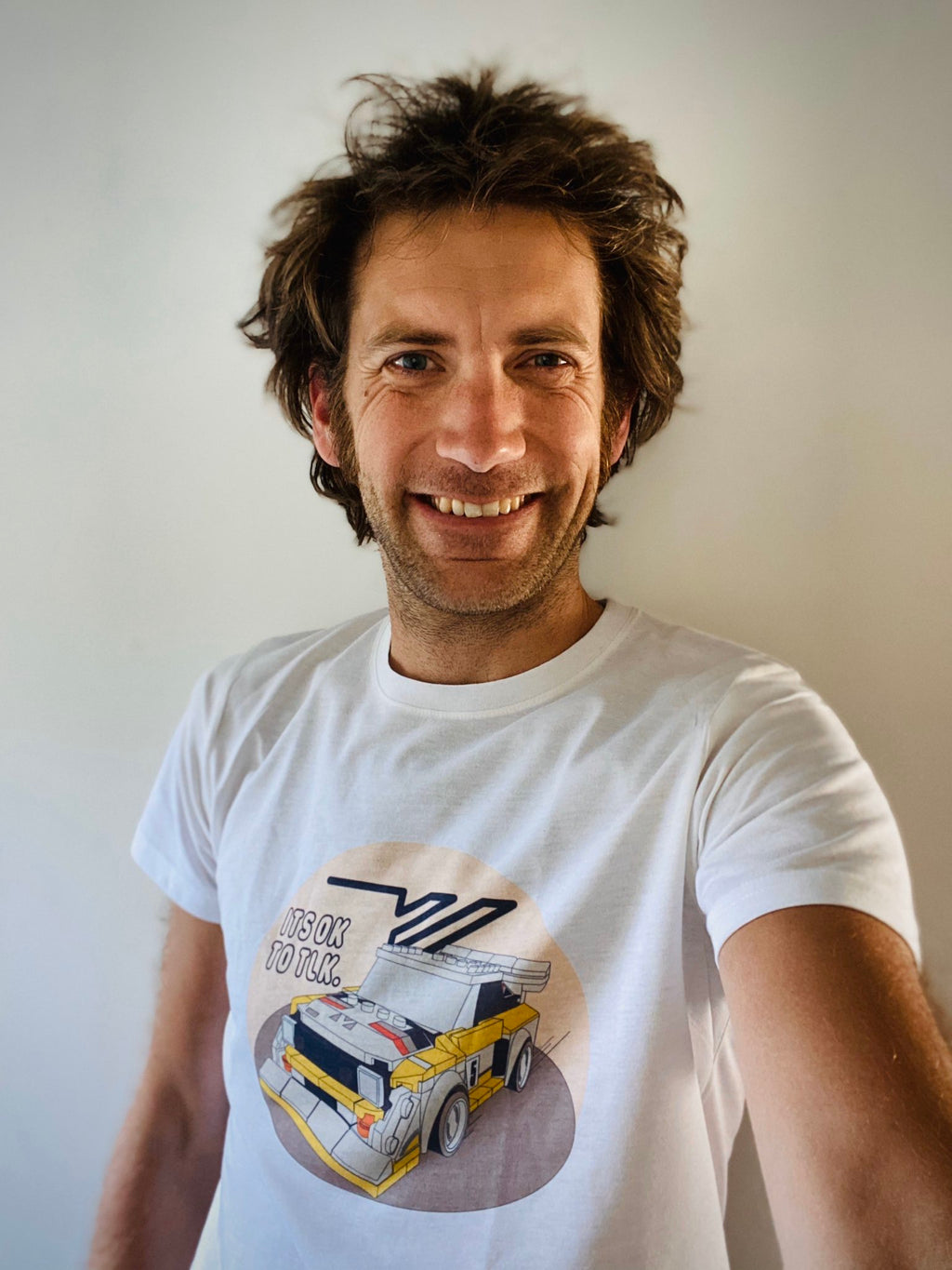 Motoring Journalist Henry Catchpole selfie wearing his LEGO Audi Quattro drawing t-shirt.