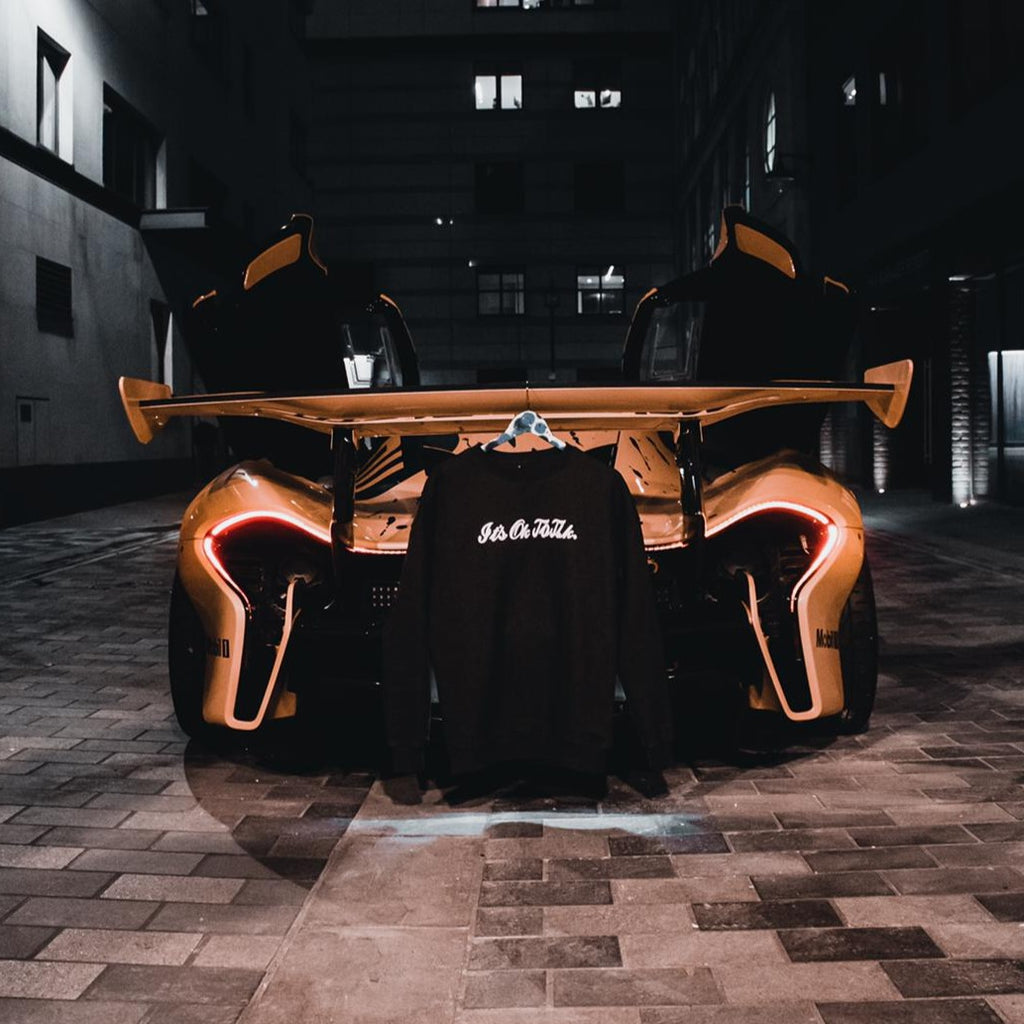 Takona It's Ok To Tlk Sweatshirt on a Mclaren P1GTR