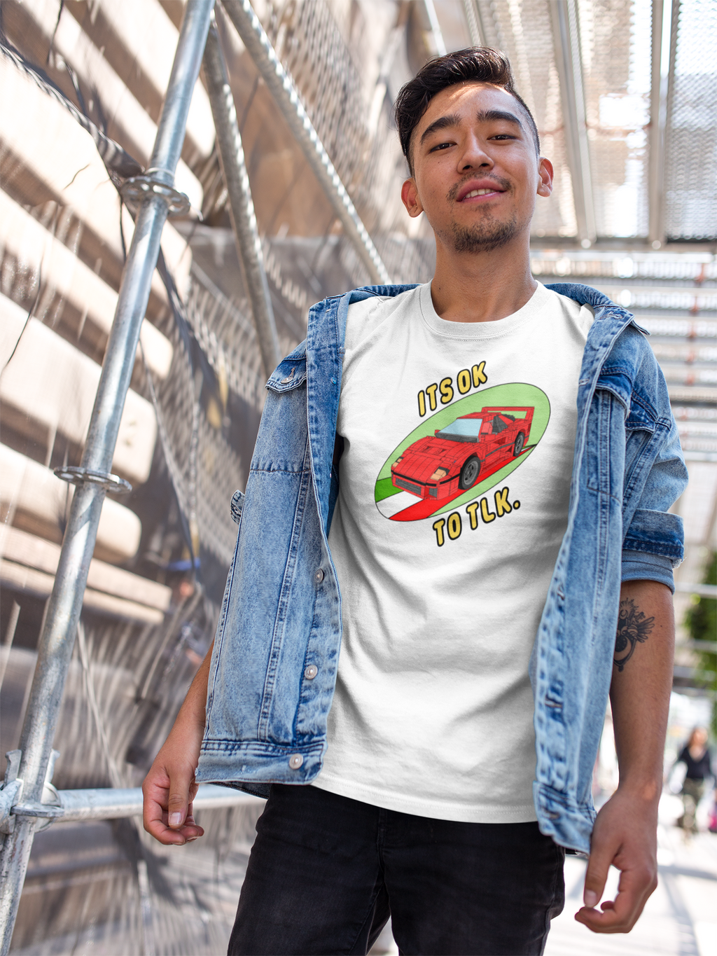 LEGO Ferrari F40 Drawing Sublimation Printed onto white Takona T-shirt