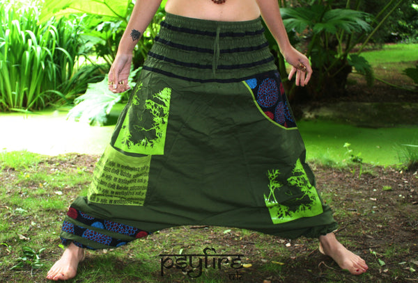 GREEN Harem Pants - Unisex Ali Baba Trousers, Hippie Yoga Pants, Fisherman Pants, Boho Baggy Trousers, Psytrance Pants, Aladdin Trousers Psy