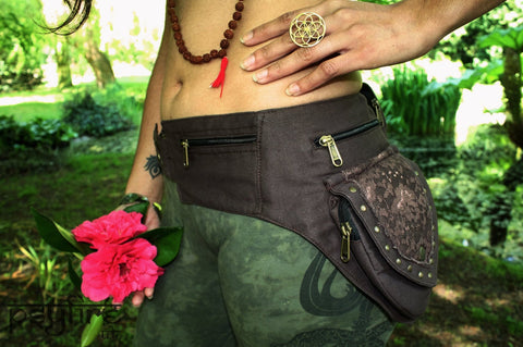 BROWN LACE Utility Belt - Festival Belt, Hippie Fanny Pack, Psytrance Belt, Pocket Belt, Psy Hip Bag