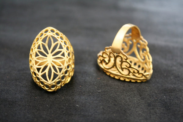 LOTUS FILIGREE Brass Ring - Tribal Ring, Hippie Ring, Boho Ring, Gypsy Ring, Psy, Bohemian Ring, Sacred Geometry, Mandala Ring, Size W X Y