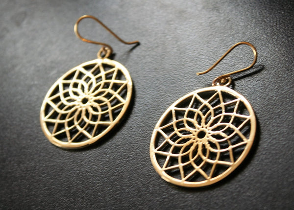 LOTUS Brass Earrings - Flower of Life Earrings, Mandala Earrings, Tribal Earrings, Geometric Earrings, Psy, Boho Earrings, Sacred Geometry