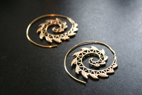 RAZOR Spiral Brass Earrings - Mandala Earrings, Hippie Earrings, Psy, Boho Earrings, Tribal Earrings, Gypsy Earrings, Sacred Geometry