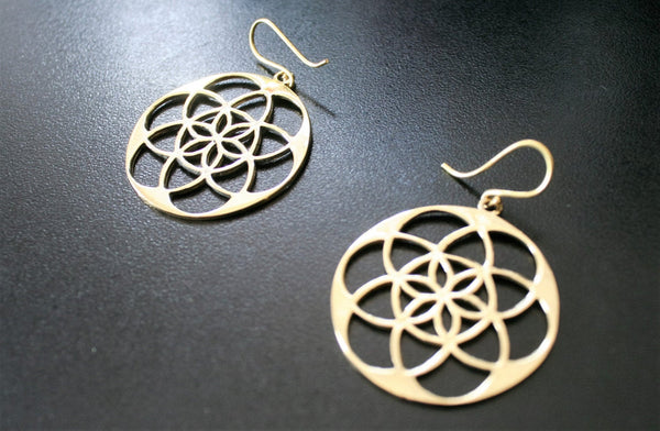 SEED OF LIFE Brass Earrings - Flower of Life Earrings, Tribal Earrings, Mandala Earrings, Psy, Boho Earrings, Geometric Earrings, Geometry
