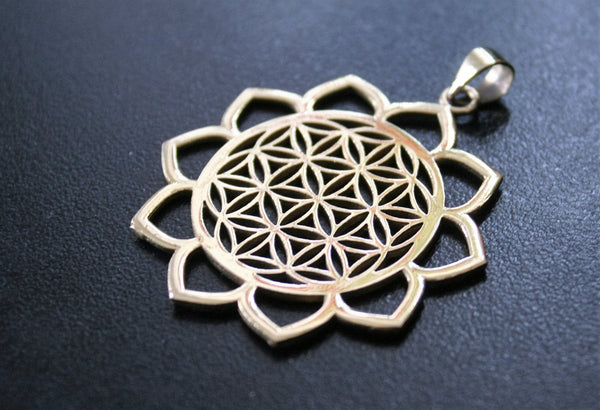 LOTUS Flower of Life Brass Pendant - Tribal Necklace, Mandala Necklace, Hippie Psy Boho Gypsy, Boho Necklace, Sacred Geometry Necklace