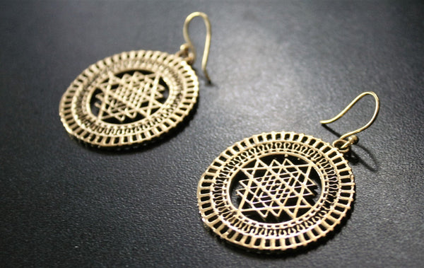 SRI YANTRA MANDALA Earrings - Flower of Life, Tribal Earrings, Boho Earrings, Hippie Earrings, Psy, Bohemian Earrings, Sacred Geometry