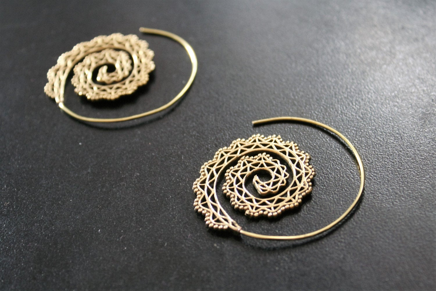 SPIRAL Brass Tribal Earrings - Flower of Life Earrings, Mandala Earrings, Psy, Boho Earrings, Tribal Earrings, Sacred Geometry Earrings