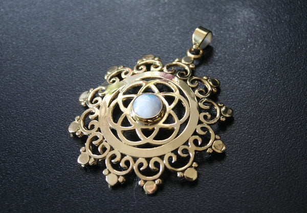 MOONSTONE Seed of Life Brass Pendant - Tribal Necklace, Mandala Pendant, Labradorite Necklace, Boho Pendant, Sacred Geometry, Flower of Life