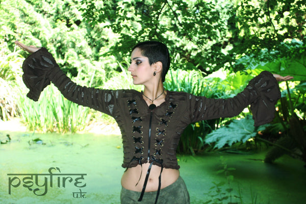 PIXIE TOP - Slashed Jacket - Hippie Sweater, Weave Top, Psytrance Top, Festival Hoodie, Winter Jacket, Burning Man, Psy, Pixie, Tribal Top