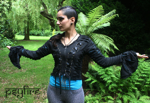 PIXIE TOP - Slashed Jacket - Hippie Sweater, Weave Top, Psytrance Top, Festival Hoodie, Festival Jacket, Burning Man, Psy, Steampunk Top