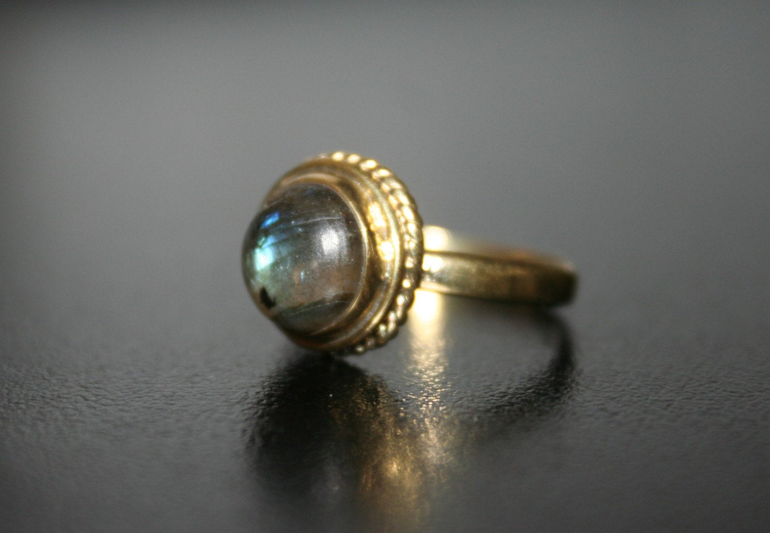 TIGER EYE Brass Ring - Labradorite Ring, Tiger Eye Ring, Moonstone Ring, Brass Ring, Tribal Ring, Boho Ring, Sacred Geometry Ring, Psy