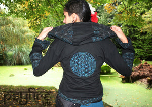 FLOWER OF LIFE Jacket - Flower of Life Hoodie, Festival Hoodie, Hippie Hoodie, Festival Clothing, Psytrance Jacket, Psy Hoodie, Hippie Coat