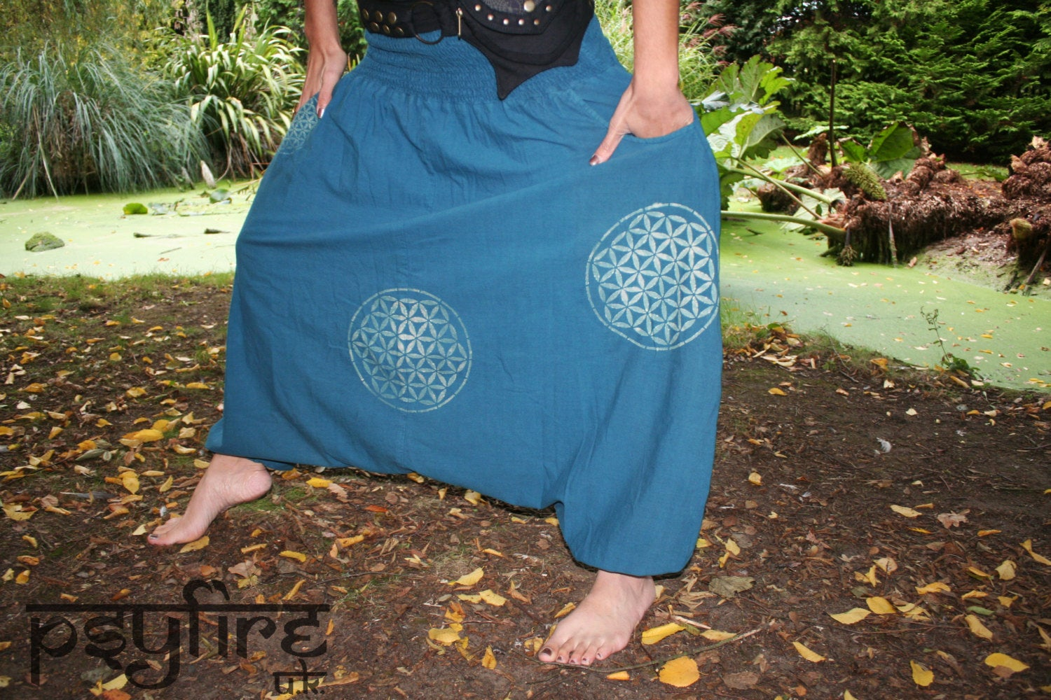 FLOWER OF LIFE Harem Pants - Unisex Ali Baba Trousers, Hippie Yoga Pants, Fisherman Pants, Baggy Trousers, Psytrance Pants, Aladdin Trousers