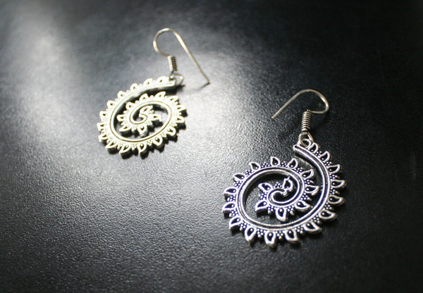 SPIRAL Silver Earrings - Tribal Jewellery, Silver Tribal Earrings, Boho Earrings, Psytrance, Geometric Earrings, Silver Gypsy Earrings, Psy
