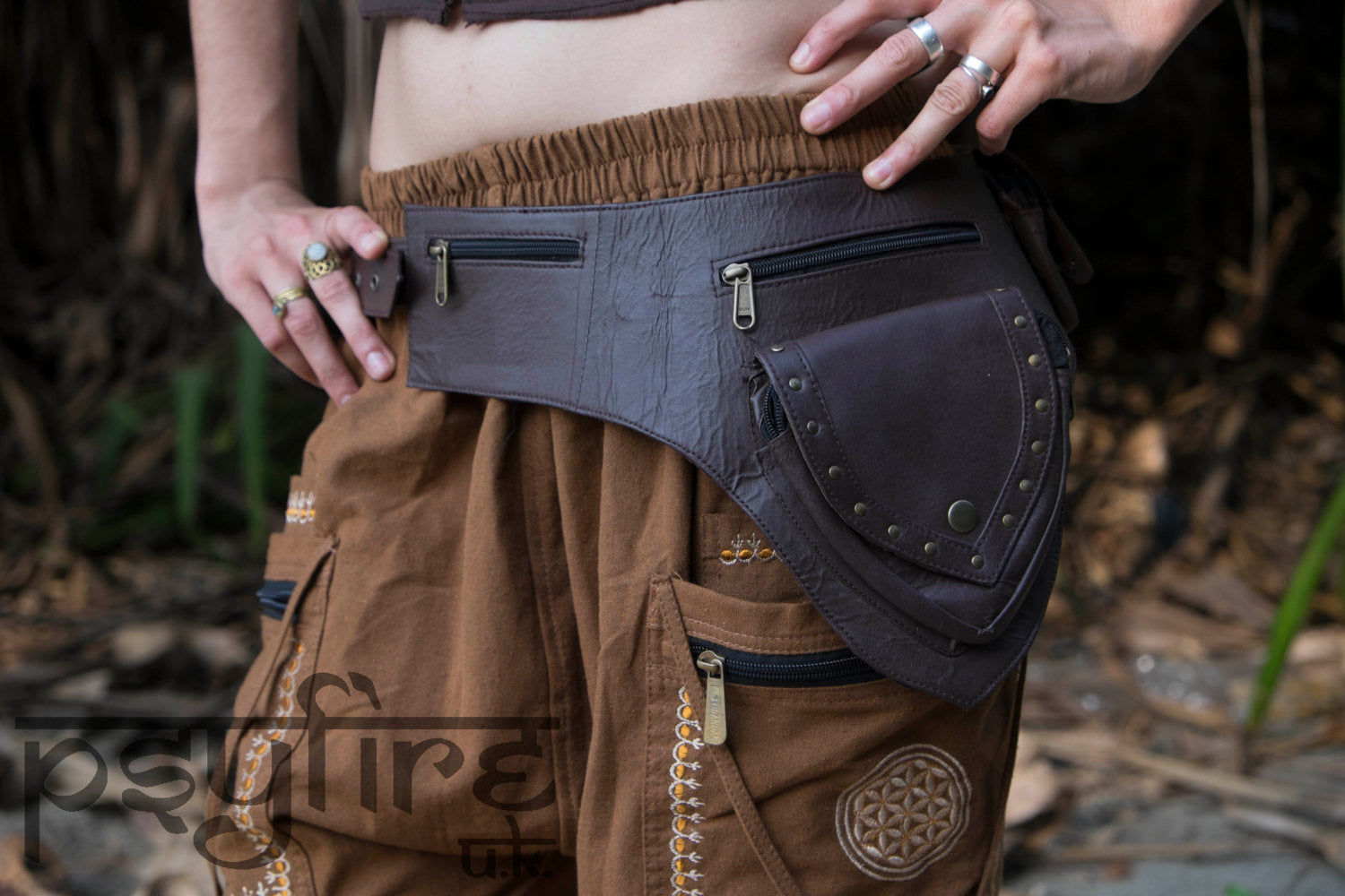 BROWN LEATHER Utility Belt, Festival Belt, Psytrance, Fanny Pack, Pocket Belt, Hippie Hip Bag