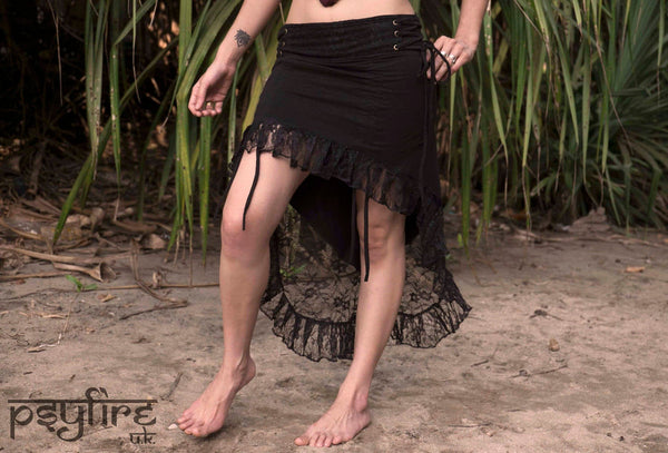 BLACK GYPSY Skirt - Lace Skirt, Festival Skirt, Long Skirt, Witch Skirt, Party Skirt, Bellydance Skirt, Full Length Skirt, Short Skirt, Psy