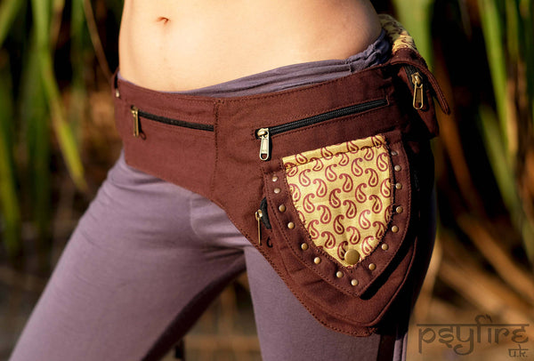 BROWN TEARDROP Festival Utility Belt - Festival Belt, Fanny Pack, Boho Pocket Belt, Psy Belt, Hippie Hip Bag, Travel Belt, Psytrance Belt