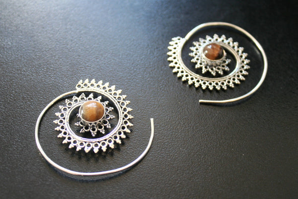 TRIBAL SPIRAL EARRINGS - Moonstone Earrings, Turquoise Earrings, Tiger Eye Earrings, Sacred Geometry Earrings, Silver Earrings, Gift, Psy